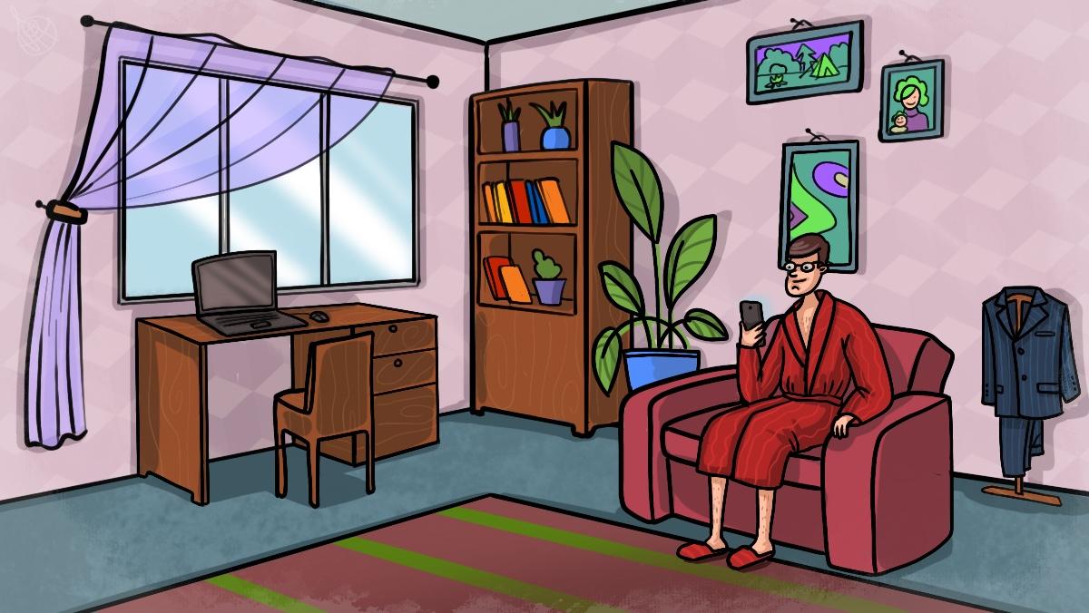 Офисный работник на самоизоляции дома