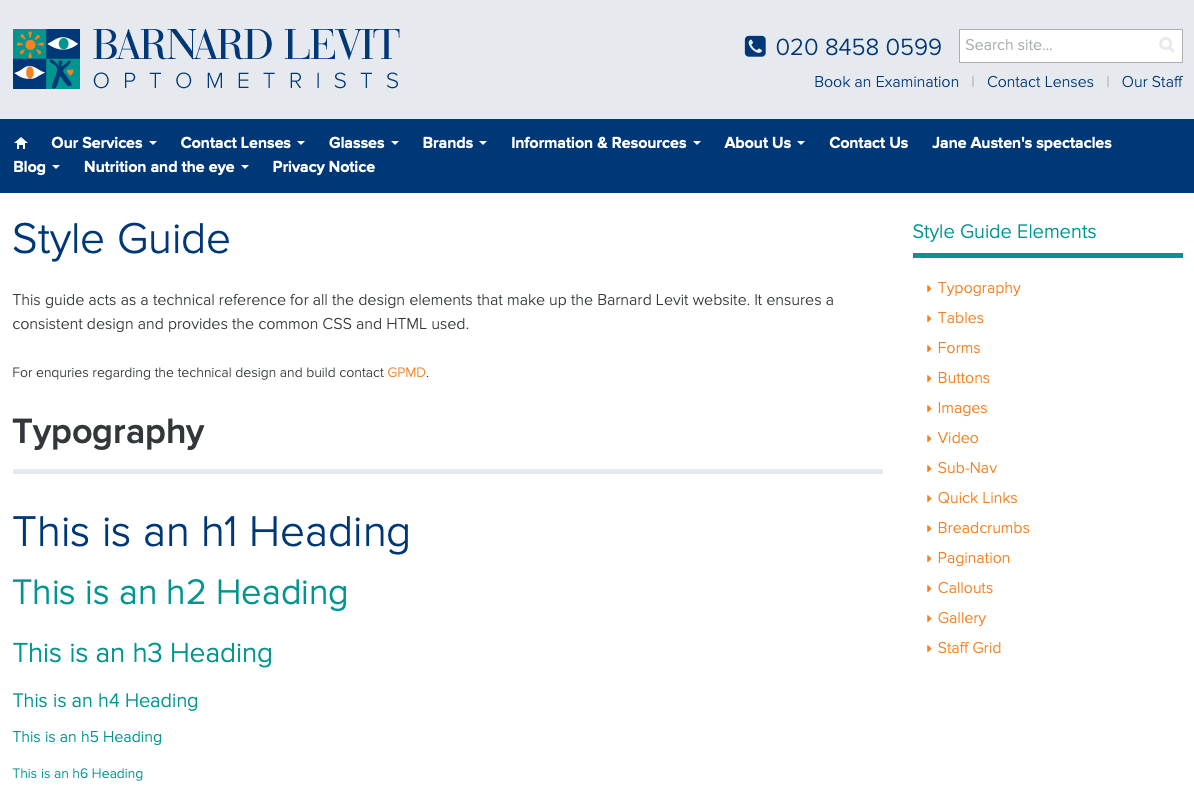 Скриншот дизайн-концепции Barnard Levit Optometrists