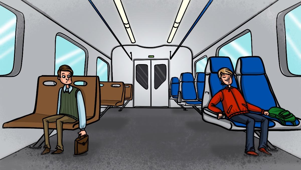 Вагон поезда с обычными и комфортными сидениями