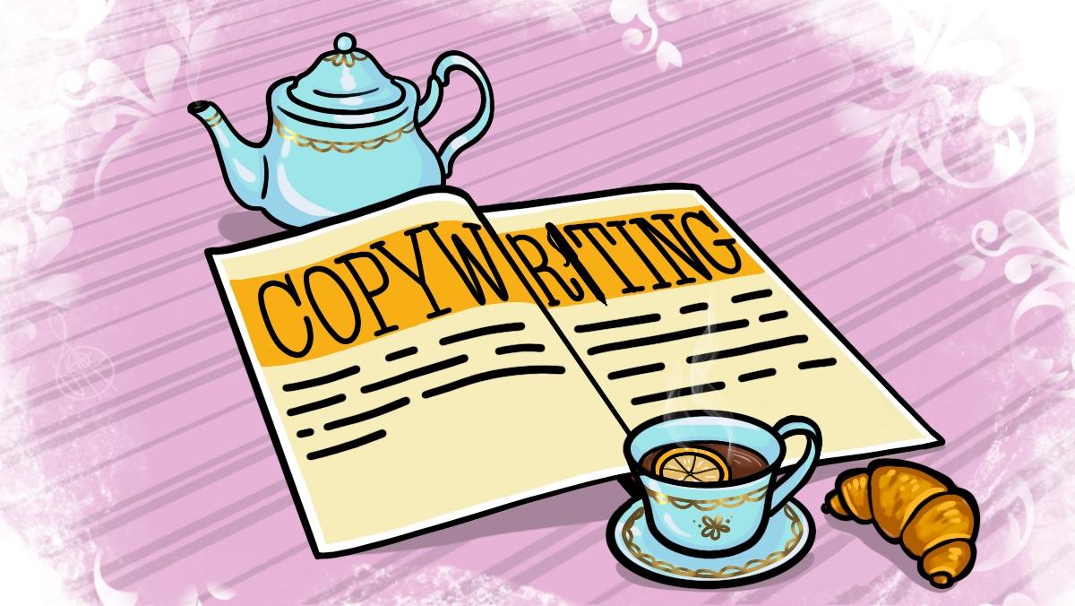Журнал на столе и публикация в нём с заголовком Copywriting
