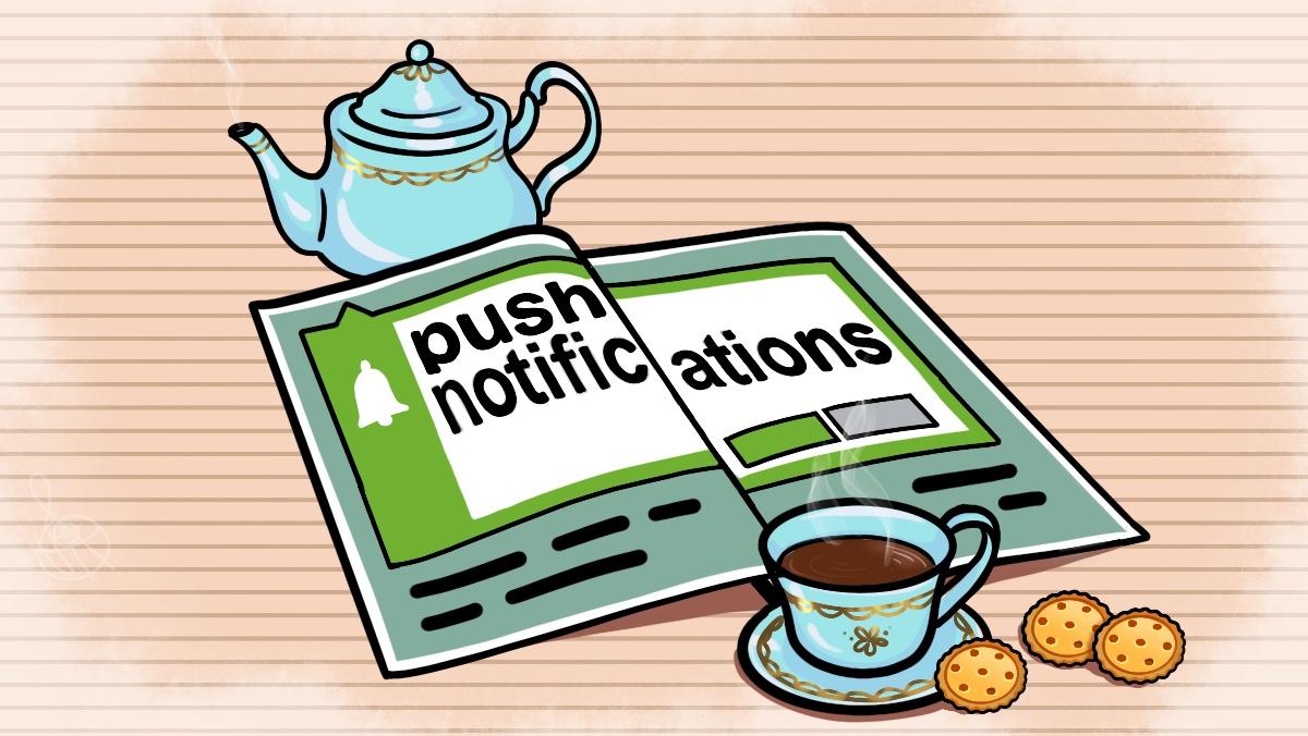 Журнал на столе с публикацией о пуш-уведомлениях