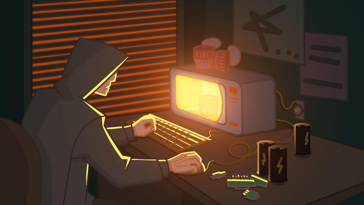Взломщик за микроволновой печью